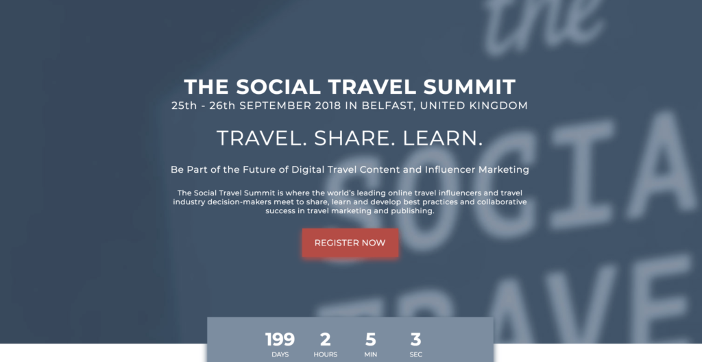 la home page del Social Travel Summit 2018